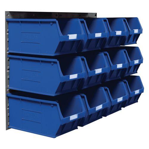 2 Tp10 Wall Mounted Panels C/W 12 Tc5 Blue Bins
