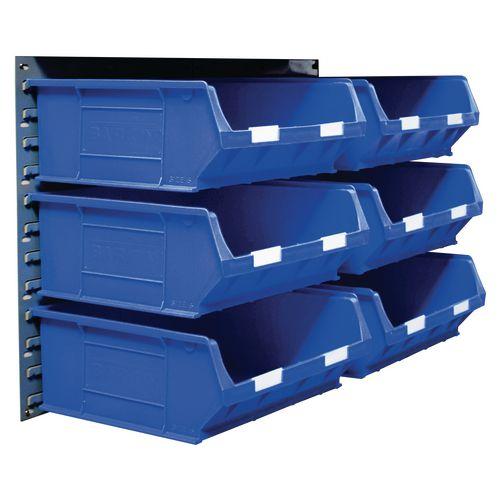 2 Tp10 Wall Mounted Panels C/W 6 Tc6 Blue Bins