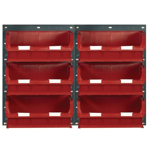 2 Tp10 Wall Mounted Panels C/W 6 Tc6 Red Bins