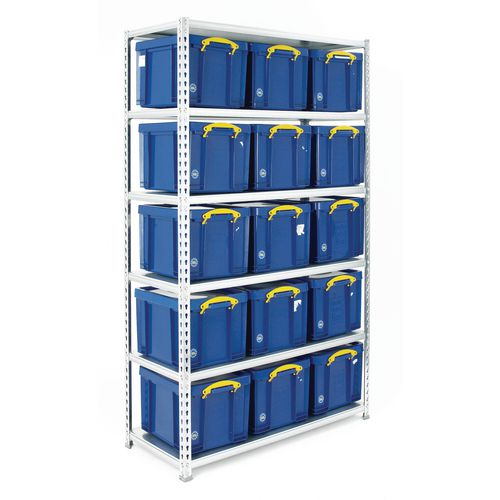 Boltless Shelving Galvanised With 15 Blue Containers