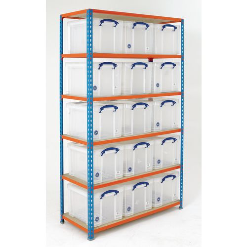 Boltless Shelving Painted With 15 Clear Containers