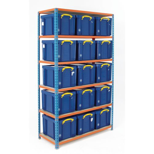 Boltless Shelving Painted With 15 Blue Containers