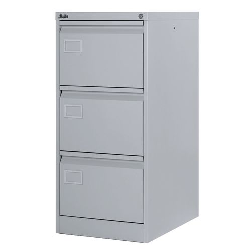 Filing Cabinet Exec Light Grey Steel HxWxD: 1009x458x622mm