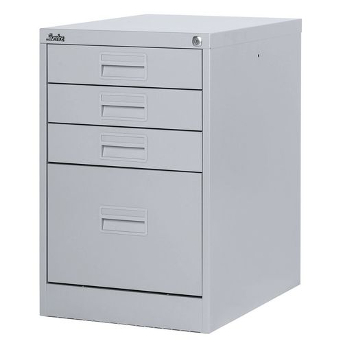 Filing Cabinet Midi Light Grey Steel HxWxD: 711x458x622mm 1 Filing Drawer &3 Shallow Stationery Drawers
