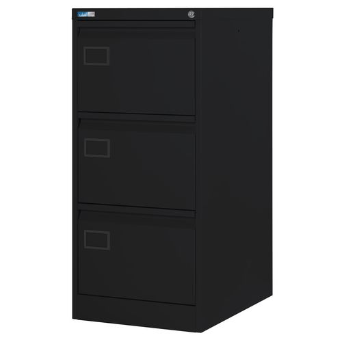 Filing Cabinet Exec Black Steel HxWxD: 1009x458x622mm