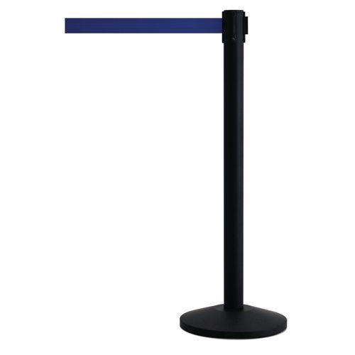 Black Queueway Post With Blue Webbing