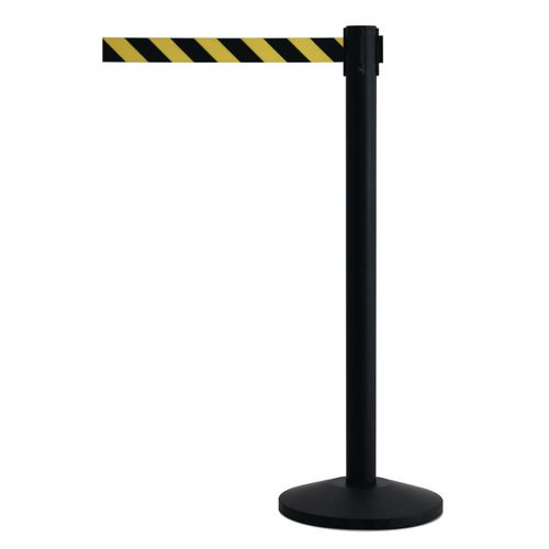 Black Queueway Post With Black/Yellow Chevron Webbing