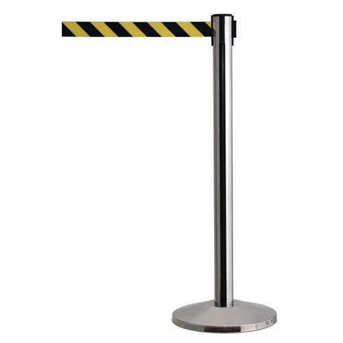 Mirror Effect Queueway Post With Black/Yellow Chevron Belt