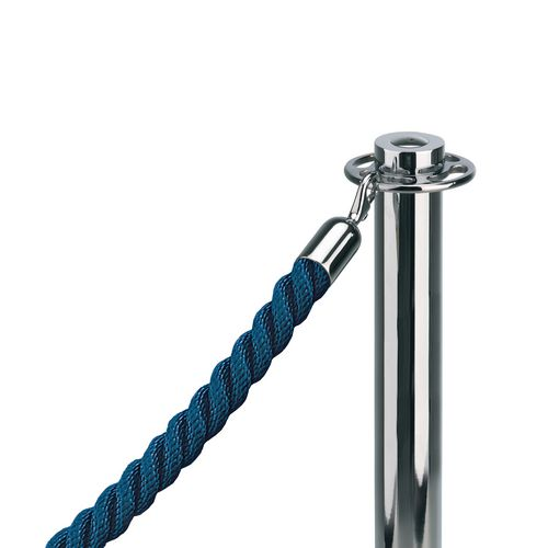 """1""""Twisted Rope Blue (1M) With 1"""" Polished Chrome Snap Ends"""