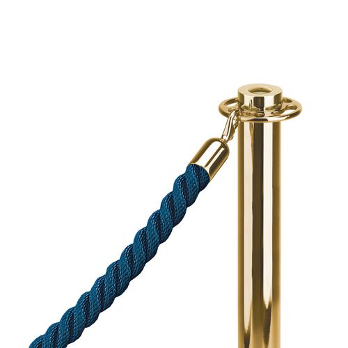 """1""""Twisted Rope Blue (2M) With 1"""" Polished Brass Snap Ends"""