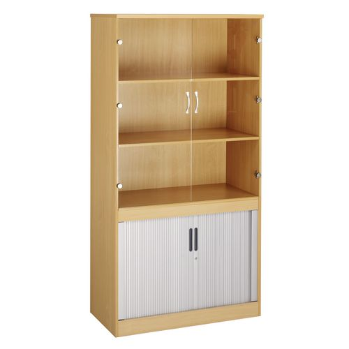 System Combination Bookcase With Horizontal Tambour &Glass Doors Oak HxWxD mm: 1600x1020x550