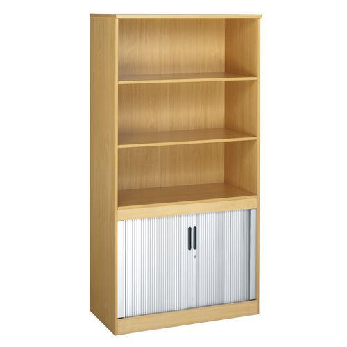System Combination Bookcase With Horizontal Tambour Beech  HxWxD: 1600 X