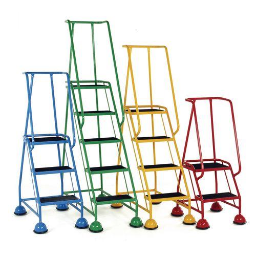 2 Tread Spring Loaded Step Full Handrail Anti-Slip Treads Light Blue