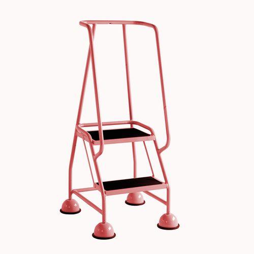 2 Tread Spring Loaded Step Full Handrail Anti-Slip Treads Red