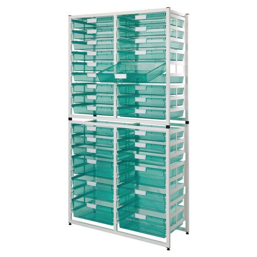 Static Storage Tray Unit White Metal With 6 A3 Deep And 24 A3 Shallow Tinted Blue Trays
