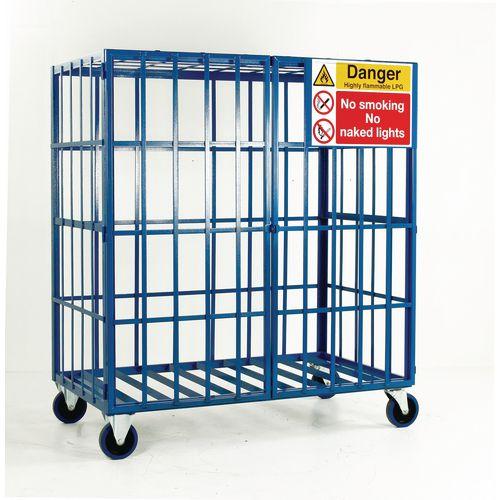 Cylinder Storage Cage Mobile No Shelves