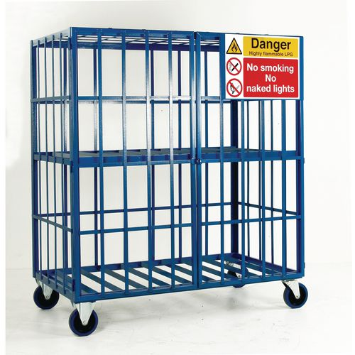 Cylinder Storage Cage Mobile One Shelf
