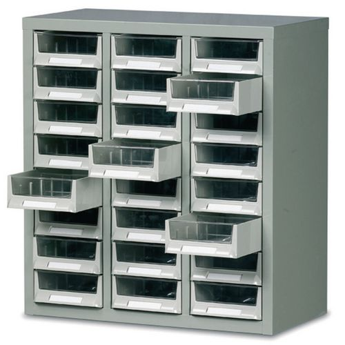 Steel Drawer Cabinet 640X586X290mm C/W 24 Bin Trays