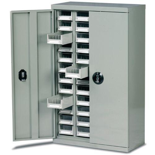 Steel Drawer Cabinet C/W Doors 970X586X222mm C/W 48 Bin Trays