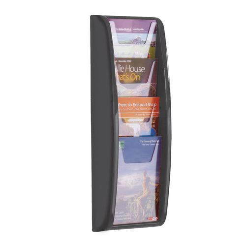 Panorama Wall Mounted Leaflet Dispenser 4xA5 Black