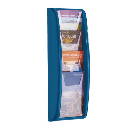 Panorama Wall Mounted Leaflet Dispenser 4xA5 Blue