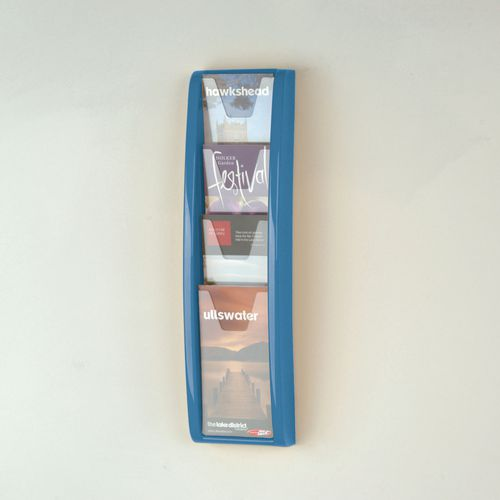 Panorama Wall Mounted Leaflet Dispenser 4 DL Size Pockets Blue