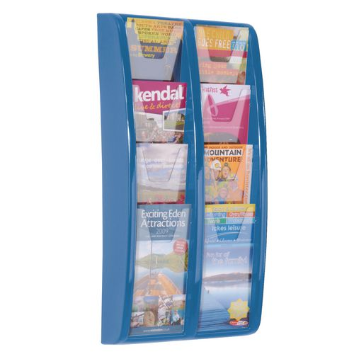 Panorama Wall Mounted Leaflet Dispenser 8 DL Size Pockets Blue