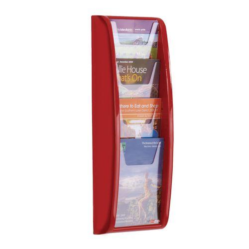 Panorama Wall Mounted Leaflet Dispenser 4xA5 Red