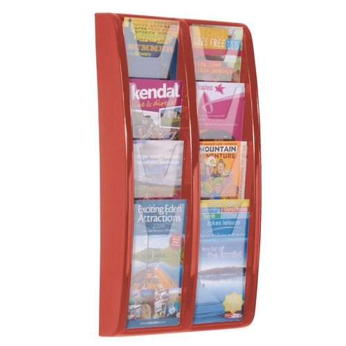 Panorama Wall Mounted Leaflet Dispenser 8 DL Size Pockets Red