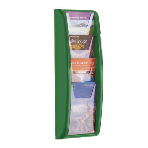 Panorama Wall Mounted Leaflet Dispenser 4xA5 Green