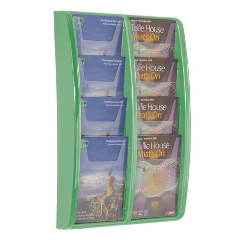 Panorama Wall Mounted Leaflet Dispenser 8xA5 Green