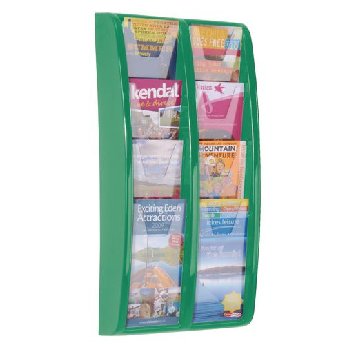Panorama Wall Mounted Leaflet Dispenser 8 DL Size Pockets Green
