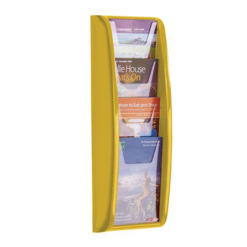 Panorama Wall Mounted Leaflet Dispenser 4xA5 Yellow