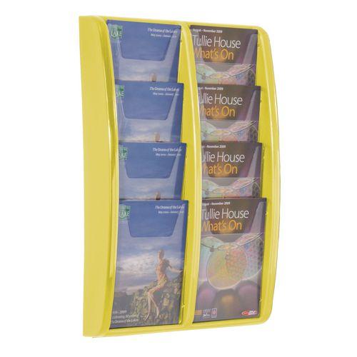 Panorama Wall Mounted Leaflet Dispenser 8xA5 Yellow