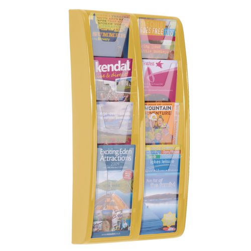 Panorama Wall Mounted Leaflet Dispenser 8 DL Size Pockets Yellow