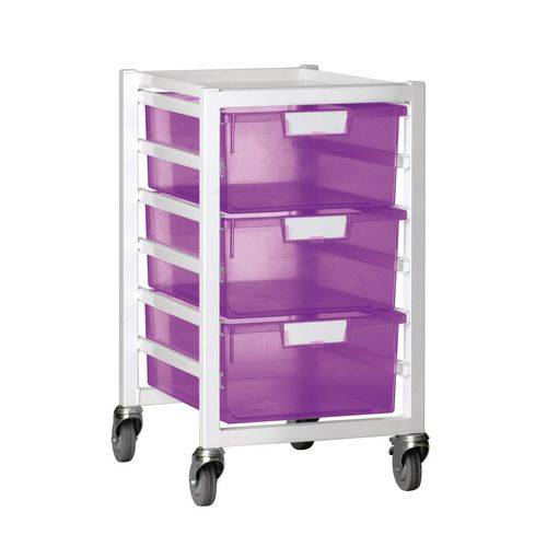 Tray Storage Unit 3 Deep Trays Tinted Pink A4 400X455X740 White Frame