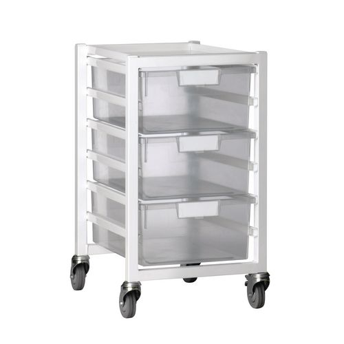 Tray Storage Unit 3 Deep Trays Tray Clear A4 400X455X740 White Frame