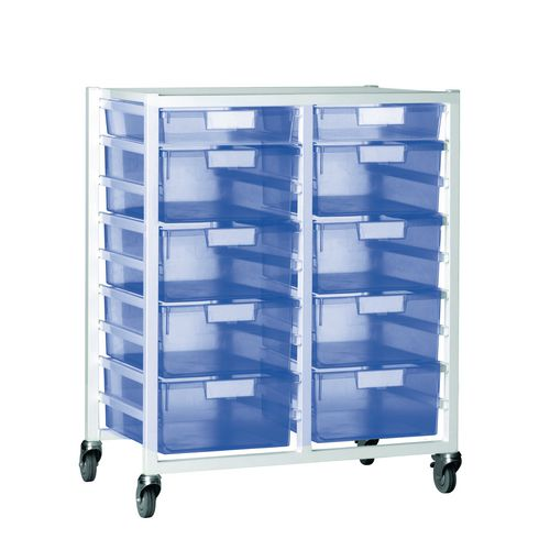 Tray Unit 10 Tray Tinted Blue A4 8 Deep+ 2 Shallow 750X455X1035 White Frame