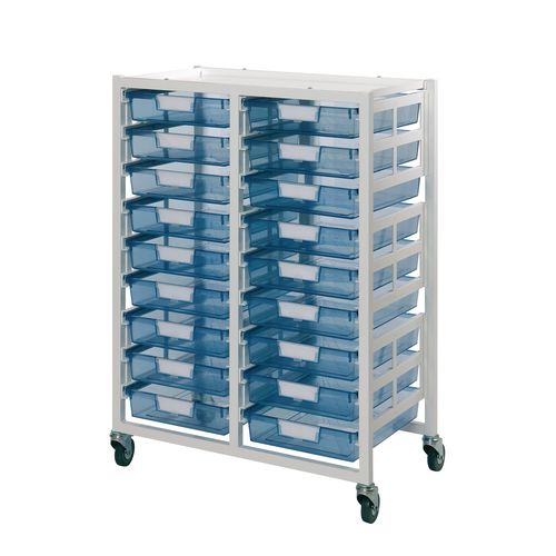 Tray Storage Unit 18 Tray Tinted Blue A4 750X455X1035 White Frame