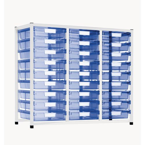 Static Tray Storage Unit 27 Trays Tinted Blue A4 1100X455X990 White Frame
