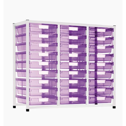 Static Tray Storage Unit 27 Trays Tinted Pink A4 1100X455X990 White Frame