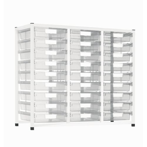 Static Tray Storage Unit 27 Trays Tray Clear A4 1100X455X990 White Frame