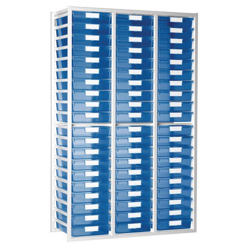 Static Tray Unit 54 Trays A4 Tinted Blue 1080X455X1910 White Frame