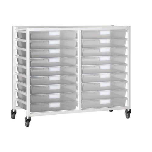 Tray Storage Unit 18 Tray Clear A3 1060X455X1035 White Frame