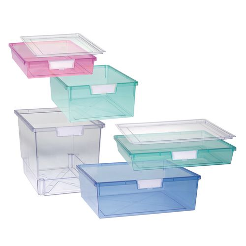 Tray  A3 Shallow Tinted Blue 77x469x425mm-Pack Of 10