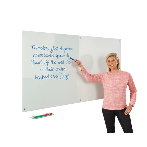 Write-On Magnetic Glass Whiteboard White H x W mm: 600 x 450