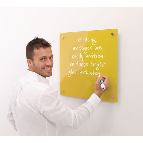 Write-On Magnetic Glass Whiteboard Yellow H x W mm: 600 x 450