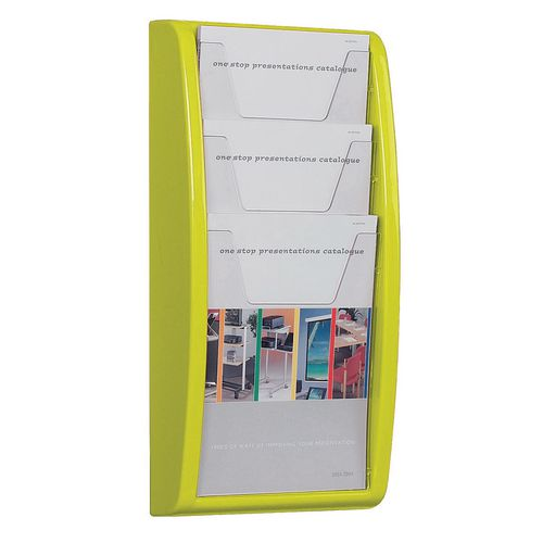 Leaflet Dispenser Wall Mounted3Xa4 Pockets Lime