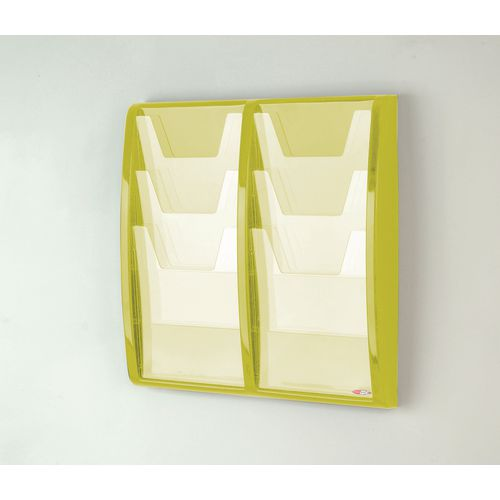 Leaflet Dispenser Wall Mounted6Xa4 Pockets Lime