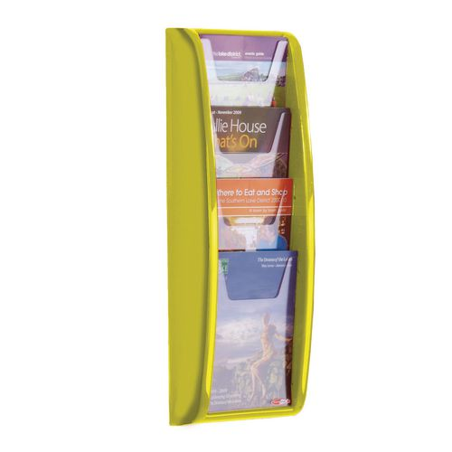 Leaflet Dispenser Wall Mounted4Xa5 Pockets Lime